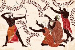 Odyssey-suitors-penilope-mythological-story-homer-kills-archer-weapons-his-hands-men-their-knees-figure-136582997